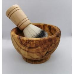 Olijf houten scheerkom.